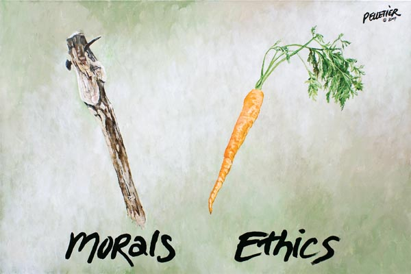 what are the differences and similarities between ethics morals and values Law is defined as a legal system that comprises of rules and principles set by the ruling authority to govern over the affairs of the community while, ethics are defined as moral guidelines set, put forth and followed by an individual.